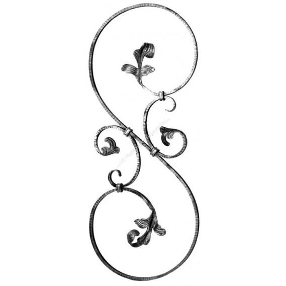 52/G/1 Panou in forma de S cu frunze forjate
