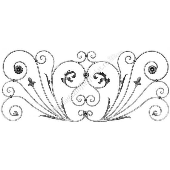 713/1 Panou floral din fier forjat rotund D.12mm cu frunze si flori forjate 1780x760mm