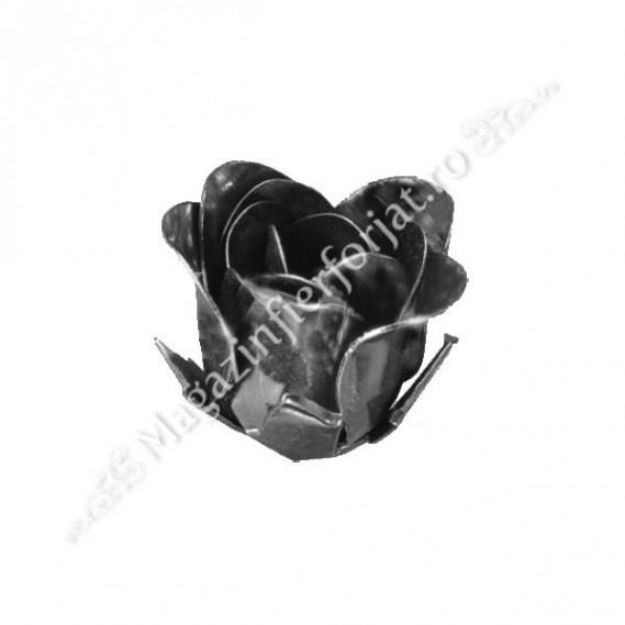 50.103 Trandafir cu petale din tabla subtire de 0.8mm cu  H.40mm fier forjat