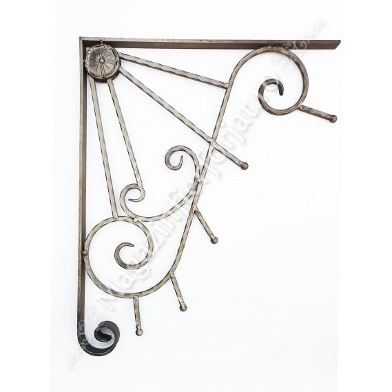 13.243 COLTAR ornamental model SOARE din fier forjat 800x630mm, cu unghiul de 90 grade, ideal pentru Copertine, Foisoare, Pergole, Marchize