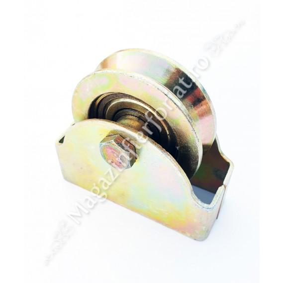 """60.106 Rola de culisare cu suport exterior D.80mm pentru profil """"V"""" 100KG"""