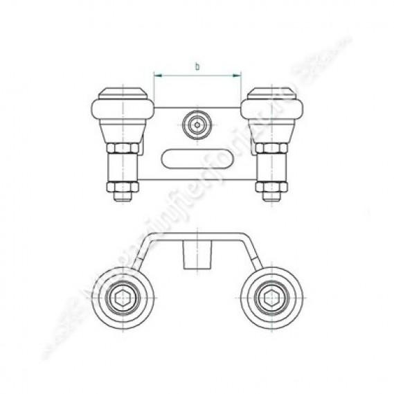 60.023 Opritor de poarta culisanta cu tampon de cauciuc si ghidaj din teflon, pentru o latime a profilului portii de 60mm