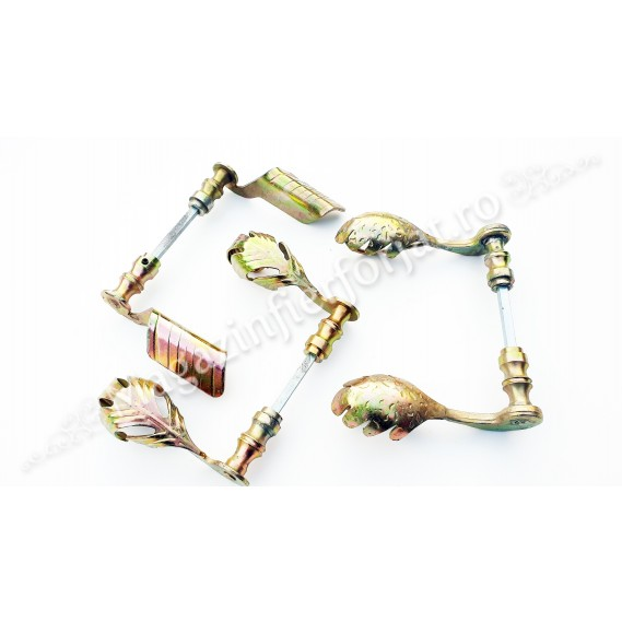 63.007 Set manere din fier forjat Zincate GALBEN 135x75mm pentru porti sau usi pietonale