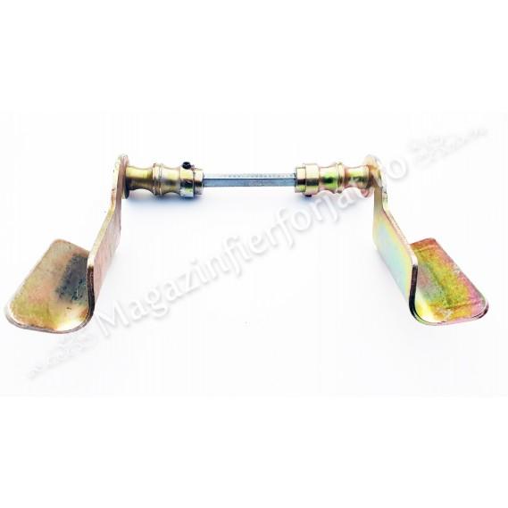 63.006 Set manere din fier forjat Zincate GALBEN 140x75mm pentru porti sau usi pietonale