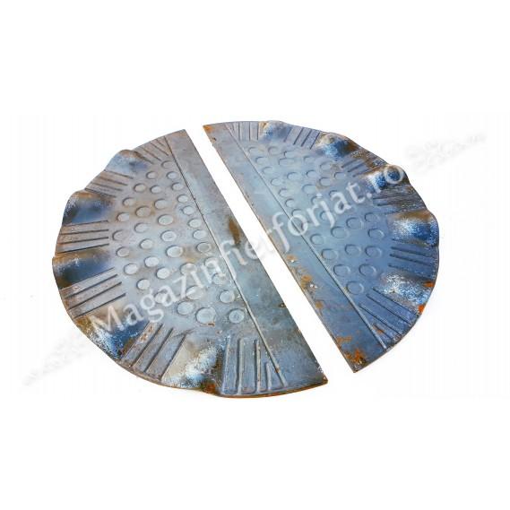 63.101 Placa de mascare pentru poarta 275x130mm din tabla forjata de 3mm in forma de Semicerc