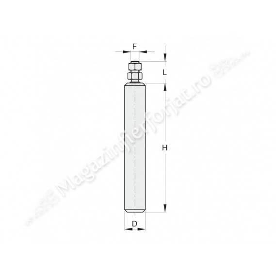 Rola FAC de ghidaj LUNGA din teflon alb D.40mm H.250mm pentru poarta culisanta cu arcada superioara semirotunda