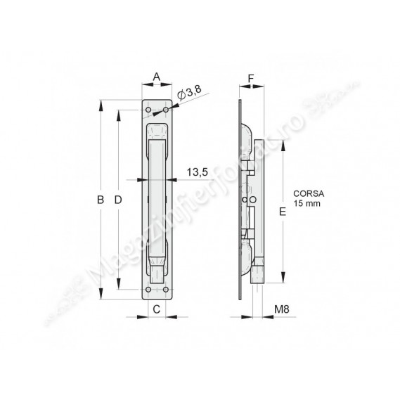 Zavor FAC ingropat de cant H.160mm cu inchidere pe tija filetata M8, pentru usi metalice, gratii, geamuri