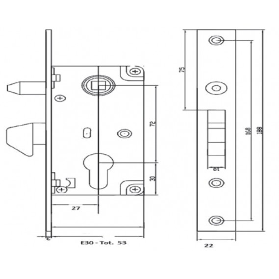 Broasca ICSA cu butuc si antiridicare pentru poarta culisanta, de incastrat in profil de min. 60mm