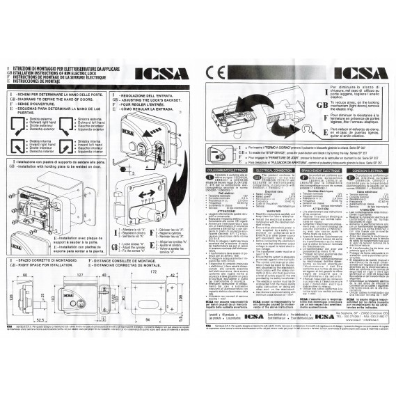 Broasca electromagnetica ICSA 2770 SX/DX cu buton de deschidere