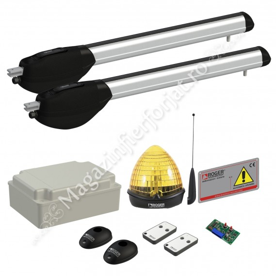 KIT automatizare poarta batanta Roger Technology Kit R20/520, 400Kg, 5ML/canat, 230Vac