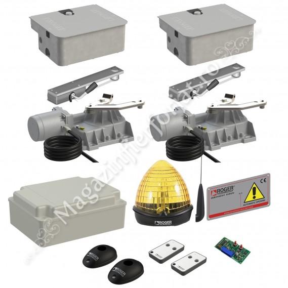 KIT automatizare poarta batanta Roger Technology Kit R21/353, 800Kg, 3.5ML/canat, 230Vac, casetat cu montaj in ascuns in pardoseala
