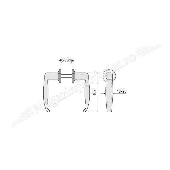 946.2 Set manere de poarta pietonala Negre, reglabile pentru profil intre 40-50mm, COMBIARIALDO Italia