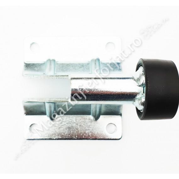 Opritor de poarta culisanta H.100mm, cu amortizor de cauciuc, aplicabil pe beton si peste sina de culizare, zincat alb