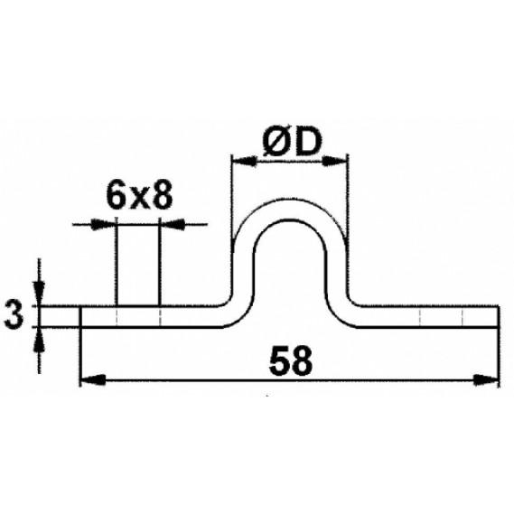 "Sina de culisare profil ""R"" - Rotund D.20mm, aplicata galvanizata 3ML"