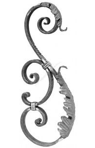 802/2 Ornament S pentru stalp cu frunze forjate 650x270mm 25x12mm