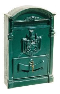 10301/1 Cutie postala turnata din aliaj fier-fonta antichizata verde
