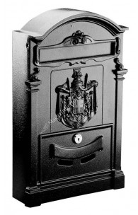 849/2 Cutie postala fabricata din ALUMINIU cu basorelief, culoare neagra