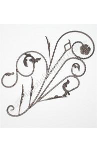 """13.101 Panou floral """"Paun"""" din fier forjat cu frunze si flori 1080x600mm D.12mm STG."""