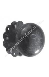 63.002 Maner fix fier forjat Eliptic D.60mm cu placa floare D.65mm cu 3 gauri, H.55mm