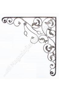 13.244 COLTAR ornamental cu model floral din fier forjat 1200x1100mm, cu unghiul de 90 grade, ideal pentru Copertine, Foisoare, Pergole, Marchize