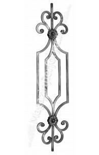 GD22/1 Panou ornamental colectia Gonzato Design 14x14mm cu 4 flori si C-uri forjate H.1000mm L.230mm