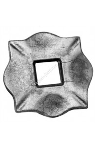 116/A/7 Placa de prindere stalp balustrada 100x100x10mm cu gaura de 30x30mm turnata din OTEL