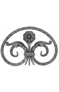 458/1 Medalion din fier forjat 14x14 cu frunze si flori 210x300mm