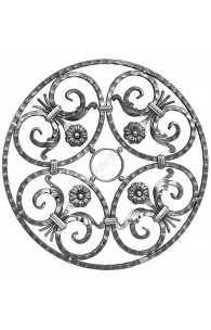 459/1 Medalion din fier forjat 14x14 cu C-uri, frunze si flori D.610mm