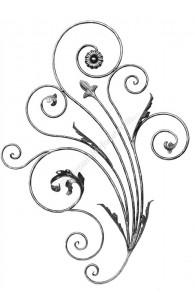 716/1 Panou floral din fier forjat rotund D.12mm cu frunze si flori forjate 920x1280mm