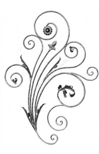 716/2 Panou floral din fier forjat rotund D.12mm cu frunze si flori forjate 920x1280mm