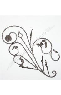 "13.100 Panou floral ""Paun"" din fier forjat cu frunze si flori 1080x600mm D.12mm DR."