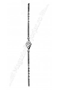 48/2 Balustru vertical, din fier de 12x12mm rasucit, H.900mm, cu 1 cosulet si coliere de mascare sudura